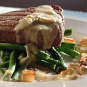 link - Beef with Yorkshire Blue & Whisky Sauce